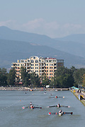 Plovdiv, Bulgaria, Wednesday, 12th September 2018. FISA, World Rowing Championships, Mixed Crews making their way to the start area,  © Peter SPURRIER,