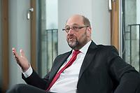 22 FEB 2016, BERLIN/GERMANY:<br /> Martin Schulz, SPD, Praesident des Europaeischen Parlamentes, waehrend einem Interview, Spiegel Hauptstadtbuero<br /> IMAGE: 20160222-01-035