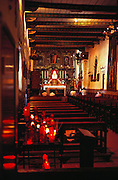 Inside the church at Mission San Juan Capistrano. San Juan Capistrano, California, USA.