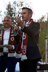 Oct 21, 2019; Sacramento, CA, USA; Ben Gumpert, right, president and CEO of the Sacramento Republic FC greets the crowd during a fan celebration event for the new MLS soccer team at Capital Mall. Mandatory Credit: D. Ross Cameron-USA TODAY Sports