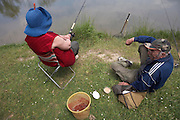 elderly couple fishing