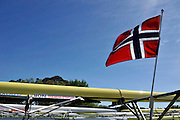 Hamilton, NEW ZEALAND. The Norwegian flag flies over the Boat rack, boating area. 2010 World Rowing Championship on Lake Karapiro Friday  29/10/2010. [Mandatory Credit Peter Spurrier:Intersport Images].