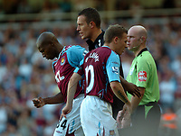 Photo: Tony Oudot.<br /> West Ham United v Wigan Athletic. The FA Barclays Premiership. 25/08/2007.<br /> Craig Bellamy is replaced by Luis Boa Morte for West Ham