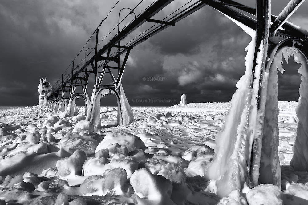 The path to the lighthouse is a mine field of boulder-sized ice chunks.