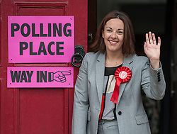 Scottish Labour leader Kezia Dugdale arrives to cast her vote in the general election at her local polling station in Lochend, Edinburgh.<br /> <br /> © Dave Johnston/ EEm