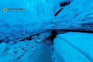 Crystal ice cave in the Vatnajokull Glacier in Jokulsarlon, Iceland