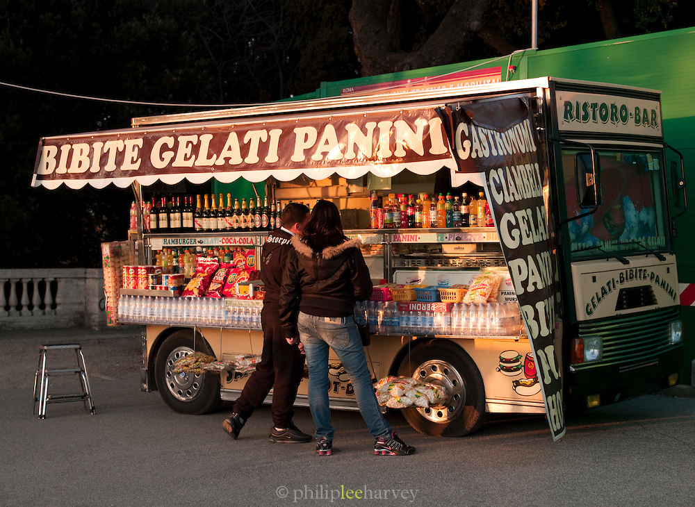 Food Stall in the park at Villa Borghese, Rome, Italy