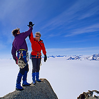 Alex Lowe & Conrad Anker exult after climbing Rakekniven spire in the Filchner Mountains, Queen Maud Land, Antarctica.  (Picture 009)