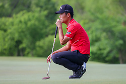 May 9, 2019 - Dallas, TX, U.S. - DALLAS, TX - MAY 09: Kevin Na lines up his putt on the ninth green during the first round of the AT&T Byron Nelson on May 9, 2019 at Trinity Forest Golf Club in Dallas, TX. (Photo by Andrew Dieb/Icon Sportswire) (Credit Image: © Andrew Dieb/Icon SMI via ZUMA Press)