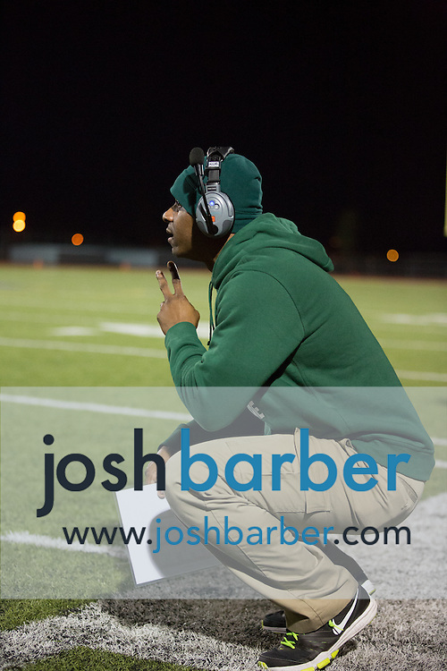 Notre Dame head coach Derrick Johnson during the CIF-SS Boys Football Northwest Division Semifinal at J.W. North High School on Friday, November 27, 2015 in Riverside, California. (Photo/Josh Barber)