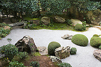 """Motonobu-no-Niwa Garden at Taizoin - Motonobu Kano, the Master of Zen and also a painter of the Muromachi period, designed this garden and as such, it retains a very graceful, elegant and painterly ambience, giving it a unique air. The background scenery of the garden consists mainly of camellia, pine, Japanese umbrella pine, and other evergreens, presumably planted to present an """"eternal beauty"""" that remains the same throughout the changing seasons."""