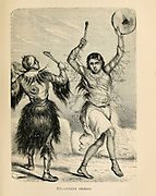 Yakut Priests dance in trance [The Yakuts, or the Sakha are a Turkic ethnic group who mainly live in the Republic of Sakha (northeastern Siberia) in the Russian Federation]. Engraving on wood From The human race by Figuier, Louis, (1819-1894) Publication in 1872 Publisher: New York, Appleton