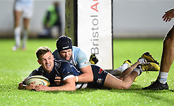Andy Uren of Bristol Rugby crosses the line to score a try - Mandatory by-line: Paul Knight/JMP - Mobile: 07966 386802 - 11/12/2015 -  RUGBY - Ashton Gate Stadium - Bristol, England -  Bristol Rugby v Bedford Blues - British and Irish Cup