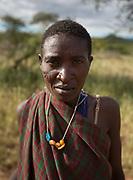 A Hadza woman near the Hadza camp of Dedauko.