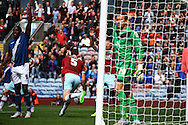 Michael Keane of Burnley (c) celebrates after scoring his teams 1st goal. Skybet football league championship match, Burnley  v Birmingham City at Turf Moor in Burnley, Lancs on Saturday 15th August 2015.<br /> pic by Chris Stading, Andrew Orchard sports photography.
