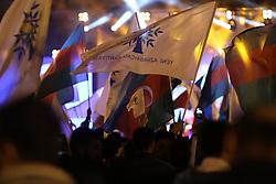 April 11, 2018 - Azerbaijan - Supporters of Azerbaijan's President Ilham Aliyev celebrate his victory in the presidential elections in Baku, Azerbaijan. (Credit Image: © Aziz Karimov/Pacific Press via ZUMA Wire)