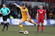 Scot Bennett of Newport county in action. EFL Skybet football league two match, Newport county v Crawley Town at Rodney Parade in Newport, South Wales on Saturday 1st April 2017.<br /> pic by Andrew Orchard, Andrew Orchard sports photography.