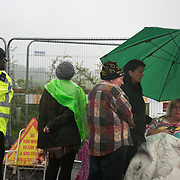Day two of the Rolling Resistance, Preston New Road, Lancashire. Michelle Martin was part of a 13 strong lock-on the day. Everyone else were cut free by specialist the day before but because the police ran out of time Michelle managed to stay on.  By the time of being photographed Michelle has been in this spot locked on for 17.5 hours. She lasted 35.5hours before she was cut loose by a specialist protester removal team.The New Preston Road Quadrilla site is almost ready to start drilling for shale gas after many delays caused by local objections. Lancashire County council voted against fracking but the conservative central government forced it through.
