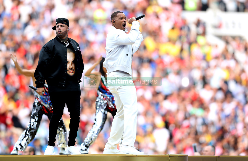 Will Smith (right) and Nicky Jam perform at the closing ceremony during the FIFA World Cup Final at the Luzhniki Stadium, Moscow.