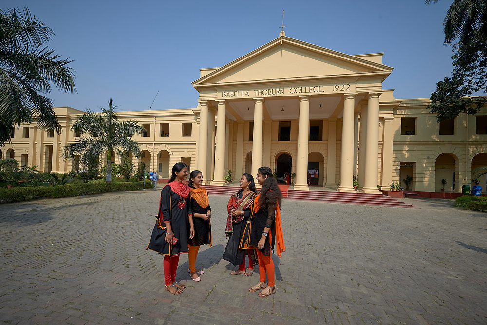 Students in front of Isabella Thoburn College, a women's college in Lucknow, India.
