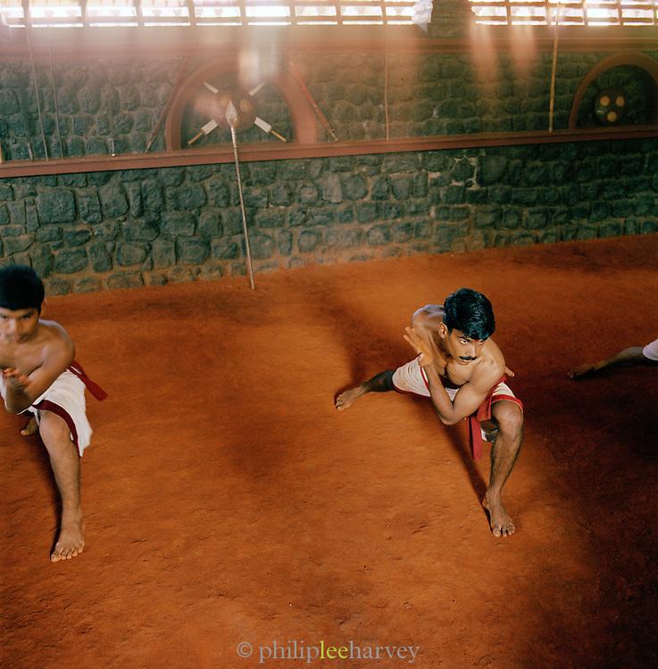 Martial arts students during training, Kerala, India