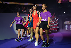 October 26, 2018 - Kallang, SINGAPORE - Gabriela Dabrowski of Canada & Yifan Xu of China walk onto the court for their doubles quarterfinal match at the 2018 WTA Finals tennis tournament (Credit Image: © AFP7 via ZUMA Wire)