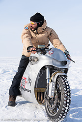 "Russian rapper Levan formally known as ""L1"" with 2-million Instagram followers) on Yaroslav Tatarinov's custom Kawasaki 1350 GTR at the Baikal Mile Ice Speed Festival. Maksimiha, Siberia, Russia. Saturday, February 29, 2020. Photography ©2020 Michael Lichter."