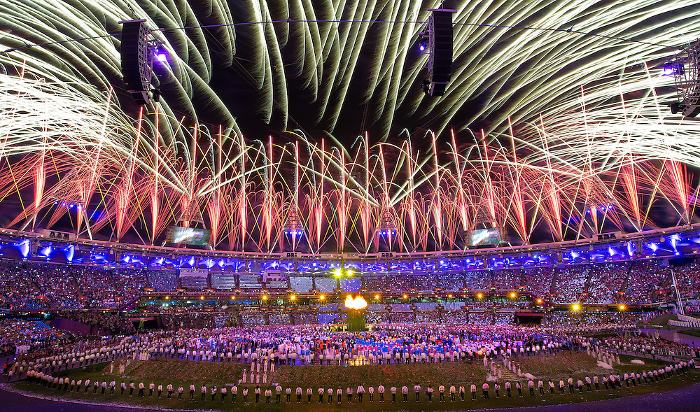 Fireworks exploded from the roof in Olympic Stadium following the lighting of the Olympic cauldron at the Opening Ceremonies during the 2012 Summer Olympic Games in London, England, Saturday, July 28, 2012. (David Eulitt/Kansas City Star/MCT)