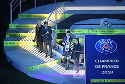 May 12, 2018 - Paris, France - NATHALIE BOY DE LA TOUR (PRESIDENTE LFP) - Nasser Al Khelaifi (PRESIDENT DU PSG - 08 THIAGO MOTTA (PSG) - TROPHEE - JOIE (Credit Image: © Panoramic via ZUMA Press)