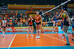 Romy Brokking of Netherlands, Iris Vos of Netherlands, Marije ten Brinke of Netherlands, Hyke Lyklema of Netherlands in action during semi final Netherlands - Serbia, FIVB U20 Women's World Championship on July 17, 2021 in Rotterdam