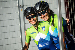 PINTAR Urska of Slovenia and BUJAK Eugenia of Slovenia posing after the Women Elite Road Race at UCI Road World Championship 2020, on September 26, 2020 in Imola, Italy. Photo by Vid Ponikvar / Sportida