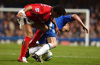 Photo: Daniel Hambury, Digitalsport<br /> Chelsea v West Bromwich Albion.<br /> FA Barclays Premiership.<br /> 15/03/2005.<br /> Chelsea's Damien Duff is tackled by West Brom's Kieran Richardson
