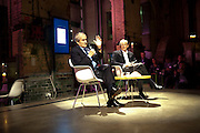 SIR HAROLD EVANS; SIMON JENKINS, Sir Harold Evans' My Paper Chase Book Launch. The Wapping Project, Wapping Hydraulic Power Station, London, 5 October 2009.