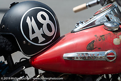 Richard Kaylor's 1948 Harley-Davidson Panhead over the finish line at the end of the Cross Country Chase motorcycle endurance run from Sault Sainte Marie, MI to Key West, FL. (for vintage bikes from 1930-1948). 287 mile ride of Stage-8 from Tallahassee to Lakeland, FL USA. Friday, September 13, 2019. Photography ©2019 Michael Lichter.