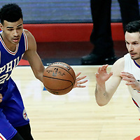 11 March 2017: Philadelphia 76ers guard Timothe Luwawu-Cabarrot (20) defends on LA Clippers guard J.J. Redick (4) during the LA Clippers 112-100 victory over the Philadelphia Sixers, at the Staples Center, Los Angeles, California, USA.