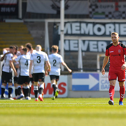 TELFORD COPYRIGHT MIKE SHERIDAN 20/4/2019 - GOAL. Darryl Knights looks crestfallen as Hereford celebrate making it 1-0  during the Vanarama Conference North fixture between Hereford FC and AFC Telford United at Edgar Street