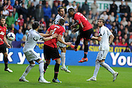 Man Utd's Patrice Evra (3) goes close to scoring with a header. Barclays Premier league, Swansea city v Manchester Utd in Swansea, South Wales on Saturday 17th August 2013. pic by Andrew Orchard ,Andrew Orchard sports photography,