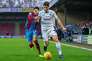 Scunthorpe United defender Cameron Borthwick-Jackson (3) battles with Wycombe Wanderers defender Joe Jacobson (3) the EFL Sky Bet League 1 match between Scunthorpe United and Wycombe Wanderers at Glanford Park, Scunthorpe, England on 29 December 2018.