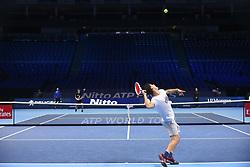 November 11, 2017 - London, United Kingdom - Dominic Thiem of Austria is pictured during a training session prior to the Nitto ATP World Tour Finals at O2 Arena, London on November 10, 2017. (Credit Image: © Alberto Pezzali/NurPhoto via ZUMA Press)