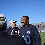 Calvin Hill during centenary presentation at half time during the Yale Vs Princeton, Ivy League College Football match at Yale Bowl, New Haven, Connecticut, USA. 15th November 2014. Photo Tim Clayton