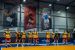 Team Dynamo before the start of the cup final between Amysoft Lycurgus vs. Draisma Dynamo on April 18, 2021 in sports hall Alfa College in Groningen