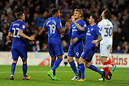 Cardiff City players celebrate with goal scorer Nathaniel Mendez-Laing (19) after he scores his teams 1st goal and equalises to make it 1-1. Carabao Cup, 1st round match, Cardiff city v Portsmouth at the Cardiff city Stadium in Cardiff, South Wales on Tuesday August 8th 2017.<br /> pic by Carl Robertson, Andrew Orchard sports photography.