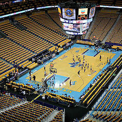 April 22, 2011; New Orleans, LA, USA; New Orleans Hornets t-shirts await fans in the stands before game three of the first round of the 2011 NBA playoffs against the Los Angeles Lakers at the New Orleans Arena.    Mandatory Credit: Derick E. Hingle