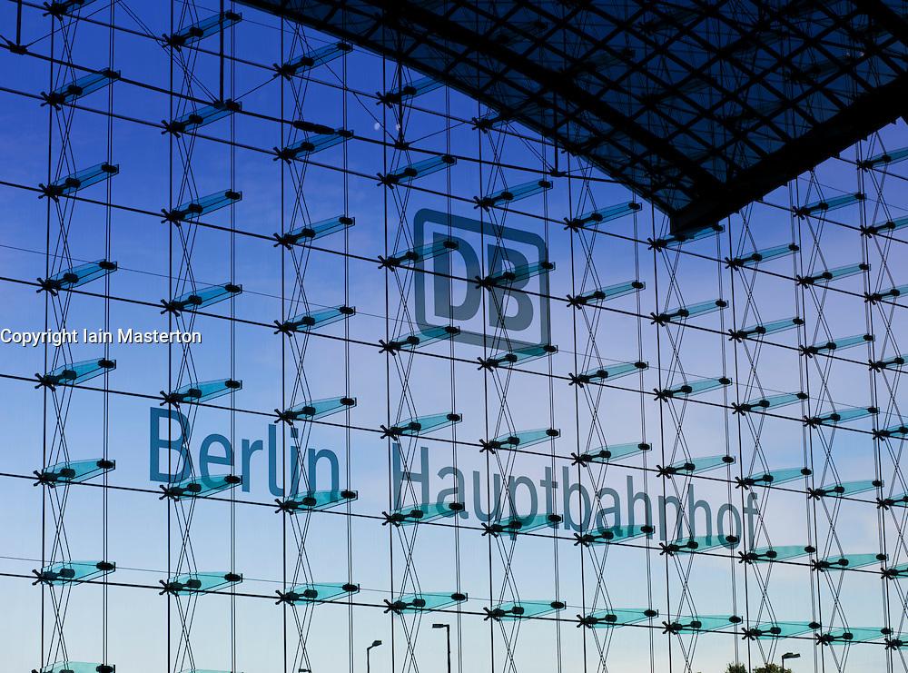 Large glass window facade of Berlin Hauptbahnhof railway Station in Berlin 2009