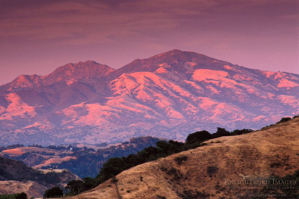 Sunset light on Mount Diablo in summer, from the East Bay hills, Contra Costa, California
