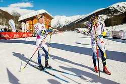 January 31, 2018 - Goms, SWITZERLAND - 180131 Filip Danielsson and Anton Persson of Sweden after the men's 15km classic technique interval start during the FIS U23 Cross-Country World Ski Championships on January 31, 2018 in Obergoms..Photo: Vegard Wivestad GrÂ¿tt / BILDBYRN / kod VG / 170091 (Credit Image: © Vegard Wivestad Gr¯Tt/Bildbyran via ZUMA Press)