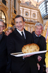 PANETTONE RECORD HIGH TWO METERS, THE BIGGEST OF THE WORLD, CREATED BY SAN GREGORIO PASTRY OF MILAN, WHICH HAS BEEN TAKEN AND OFFERED IN VITTORIO EMANUELE GALLERY. 17 Dec 2017 Pictured: cutting the panettone in the Galleria, The Mayor Giuseppe Sala. Photo credit: Fotogramma / MEGA TheMegaAgency.com +1 888 505 6342