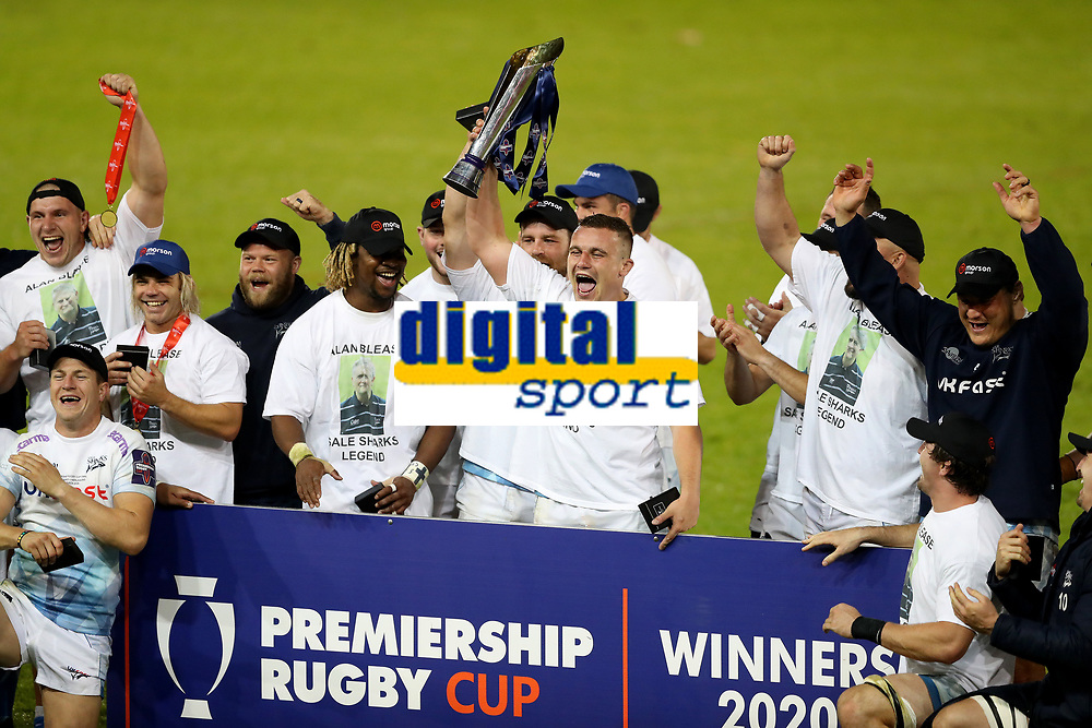 Rugby Union - 2019 / 2020 Premiership Rugby Cup - Final - Sale Sharks vs Harlequins<br /> <br /> Curtis Langdon of Sale Sharks lifts the Premiership Cup trophy with his teammates after victory in the Premiership Rugby Cup Final, at the A J Bell Stadium.<br /> <br /> COLORSPORT/PAUL GREENWOOD