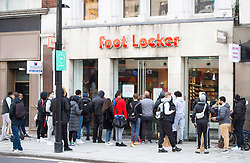 Oxford Street, London, Great Britain <br /> As shoppers queue up outside the Foot Locker shop to buy the latest Nike trainers <br /> <br /> <br /> <br /> <br /> Thanks 28th October 2020  <br />  <br /> Photograph by Elliott Franks