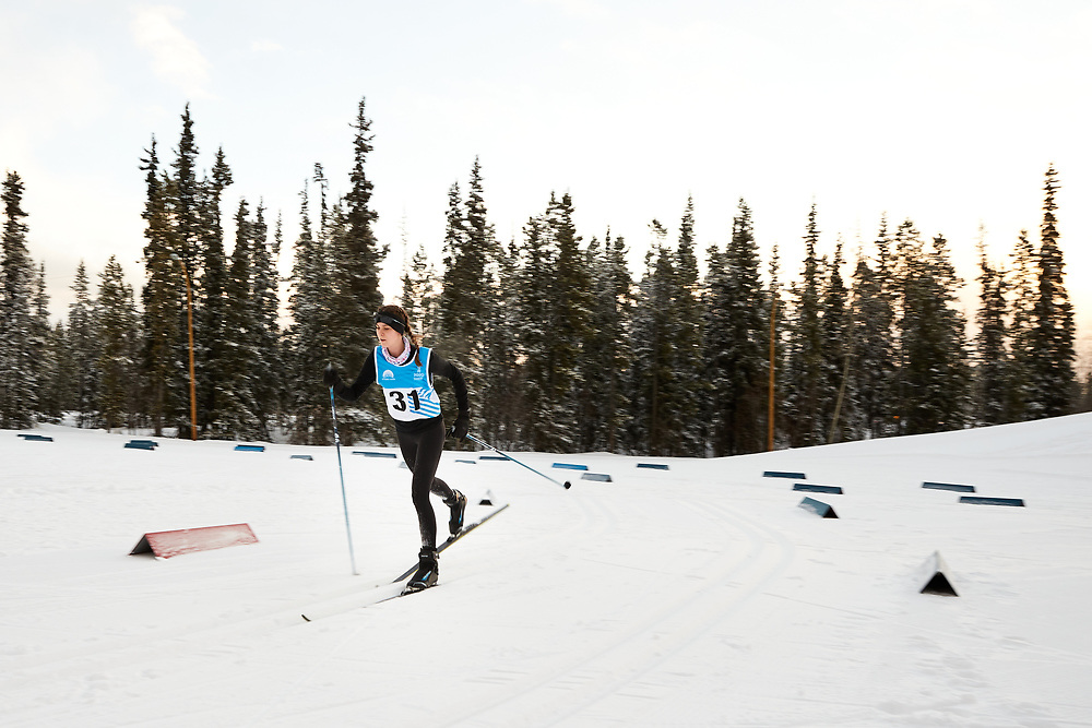 Tess Cairns-McDowell (U16 Girl) skis during the 2020 Don Sumanik Ski Race (classic style) at the Mount McIntyre Recreation Centre, December 6, 2020.